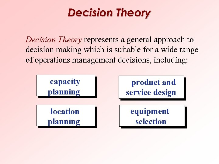 Decision Theory represents a general approach to decision making which is suitable for a