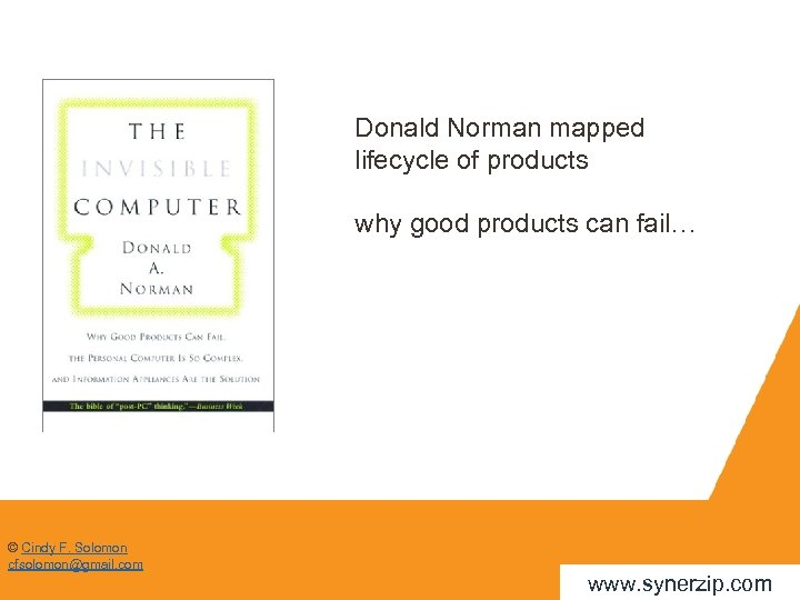 Donald Norman mapped lifecycle of products why good products can fail… © Cindy F.
