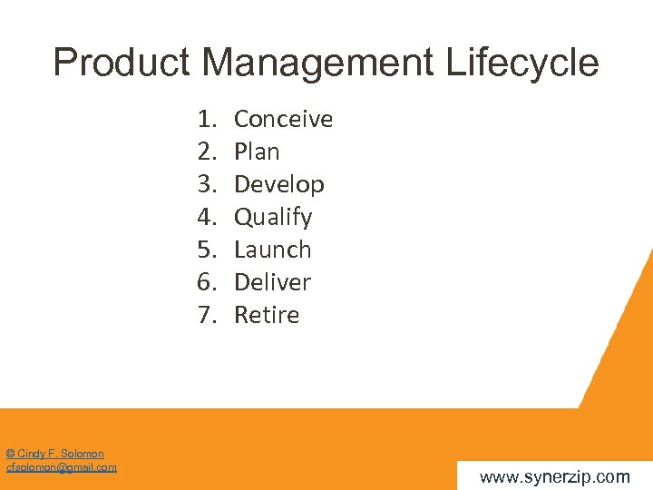 Product Management Lifecycle 1. 2. 3. 4. 5. 6. 7. © Cindy F. Solomon