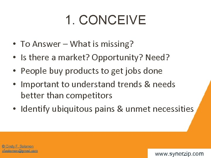 1. CONCEIVE To Answer – What is missing? Is there a market? Opportunity? Need?