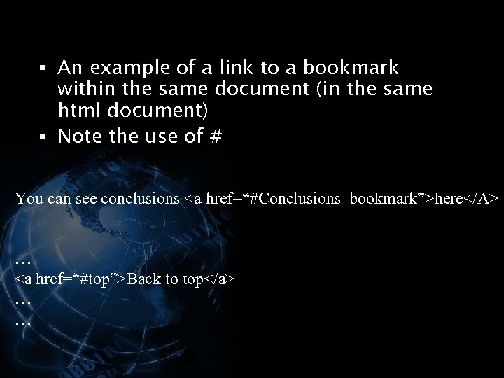 § An example of a link to a bookmark within the same document (in