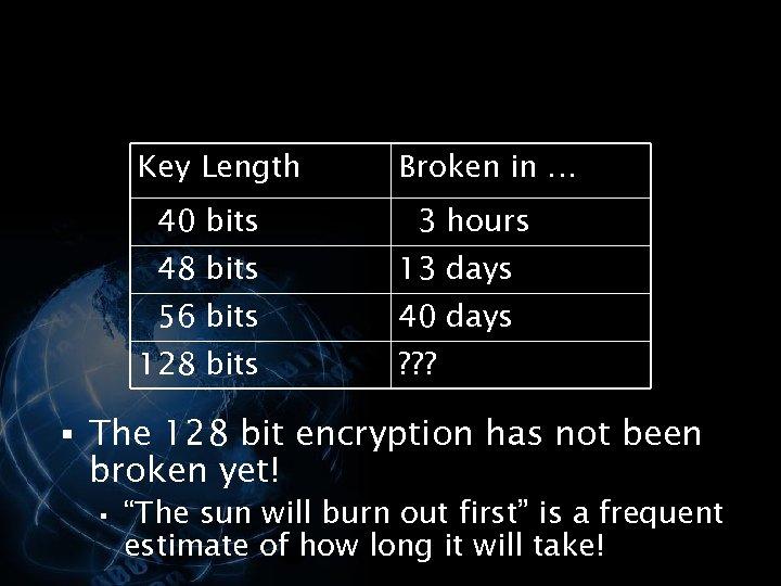 Key Length 40 bits Broken in … 3 hours 48 bits 13 days 56
