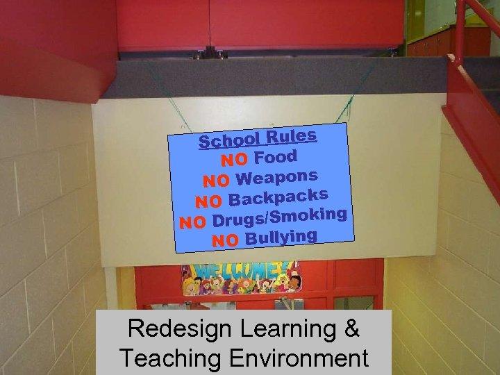 School Rules NO Food NO Weapons s NO Backpack g Drugs/Smokin NO NO Bullying