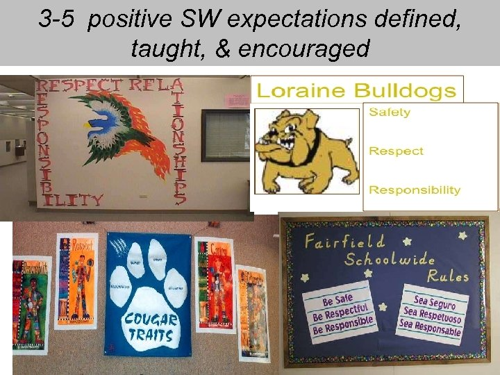 3 -5 positive SW expectations defined, taught, & encouraged