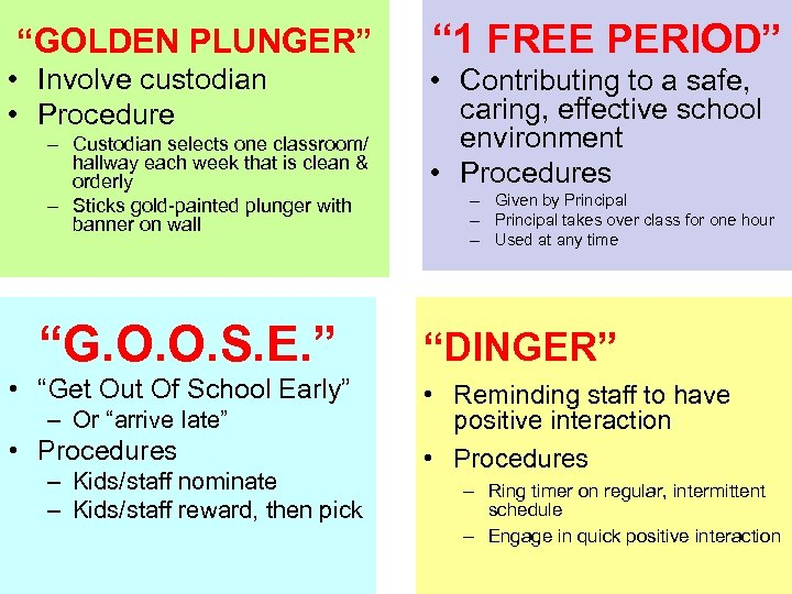 """GOLDEN PLUNGER"" "" 1 FREE PERIOD"" • Involve custodian • Procedure • Contributing to"
