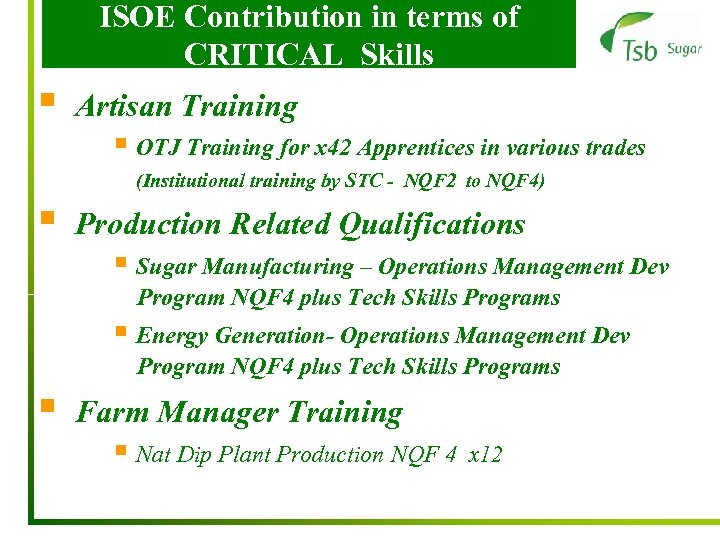 ISOE Contribution in terms of CRITICAL Skills § Artisan Training § OTJ Training for