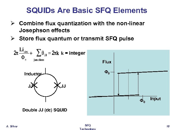 SQUIDs Are Basic SFQ Elements Ø Combine flux quantization with the non-linear Josephson effects