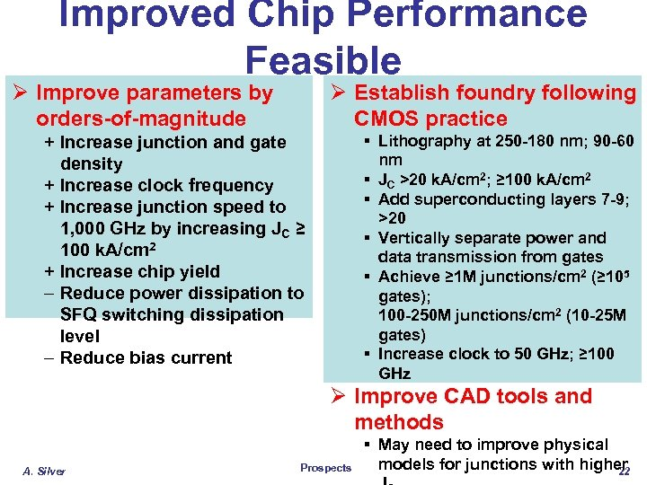 Improved Chip Performance Feasible Ø Improve parameters by orders-of-magnitude Ø Establish foundry following CMOS
