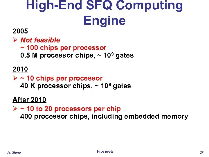 High-End SFQ Computing Engine 2005 Ø Not feasible ~ 100 chips per processor 0.
