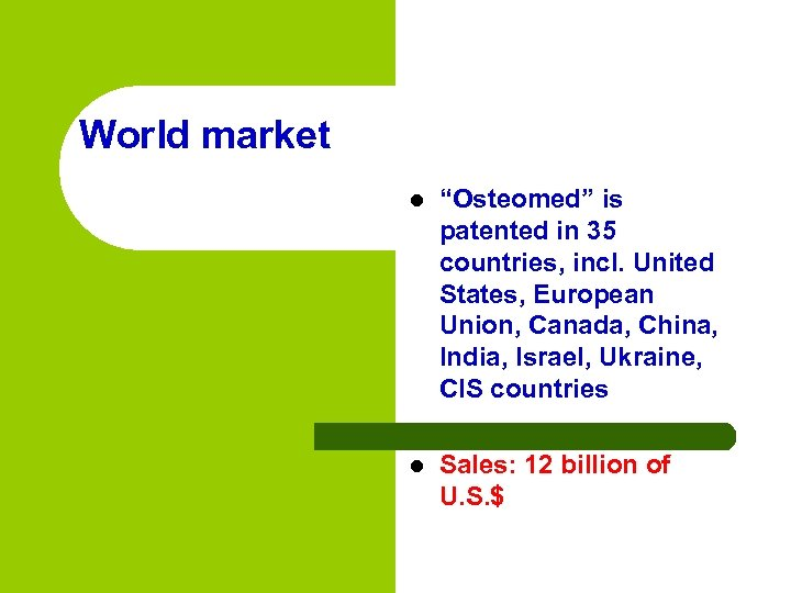 """World market l """"Osteomed"""" is patented in 35 countries, incl. United States, European Union,"""