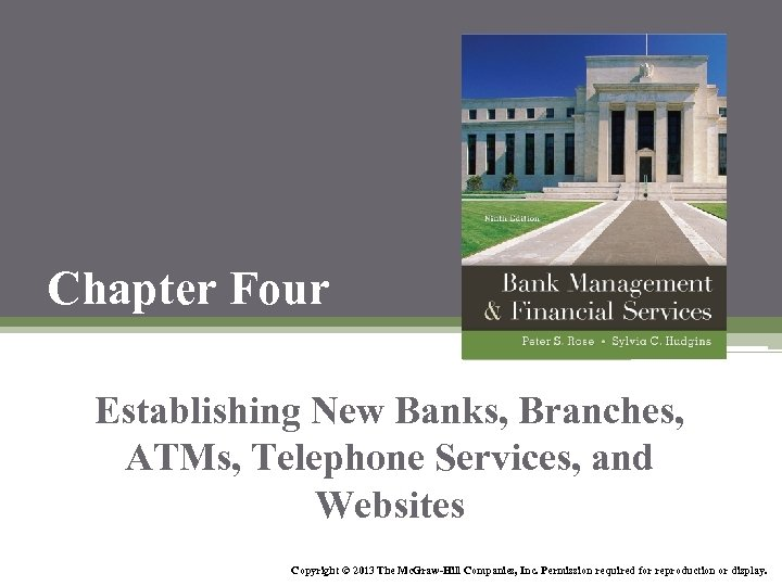 Chapter Four Establishing New Banks, Branches, ATMs, Telephone Services, and Websites Copyright © 2013