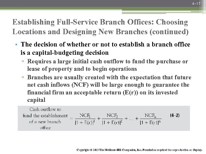 4 -17 Establishing Full-Service Branch Offices: Choosing Locations and Designing New Branches (continued) •