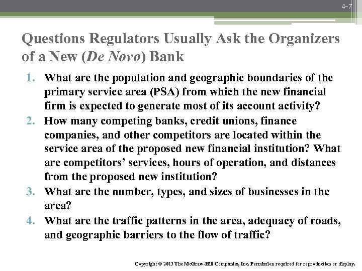 4 -7 Questions Regulators Usually Ask the Organizers of a New (De Novo) Bank