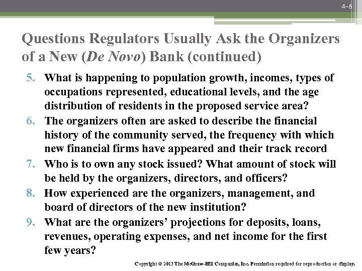 4 -8 Questions Regulators Usually Ask the Organizers of a New (De Novo) Bank