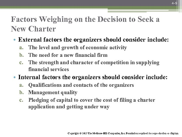 4 -9 Factors Weighing on the Decision to Seek a New Charter • External