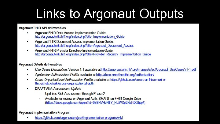 Links to Argonaut Outputs