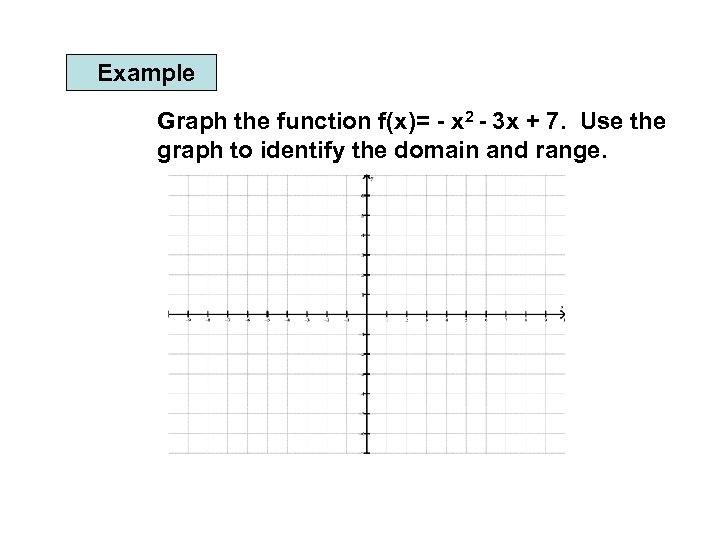 Example Graph the function f(x)= - x 2 - 3 x + 7. Use