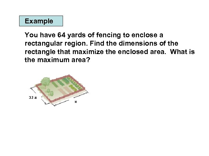 Example You have 64 yards of fencing to enclose a rectangular region. Find the