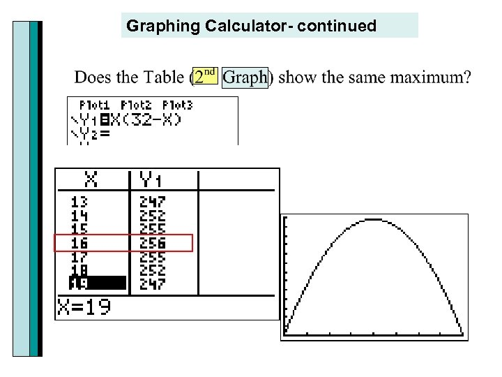 Graphing Calculator- continued
