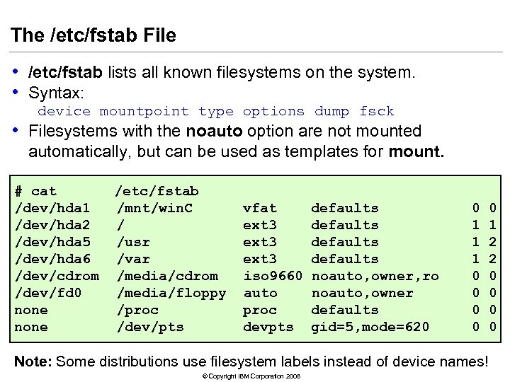The /etc/fstab File • /etc/fstab lists all known filesystems on the system. • Syntax: