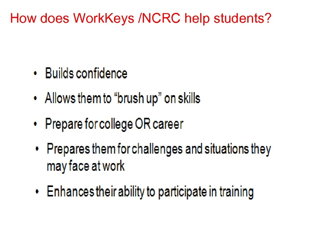 How does Work. Keys /NCRC help students?