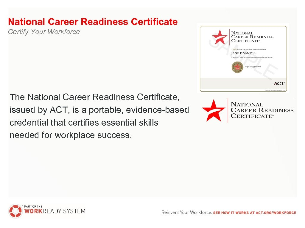 National Career Readiness Certificate Certify Your Workforce The National Career Readiness Certificate, issued by