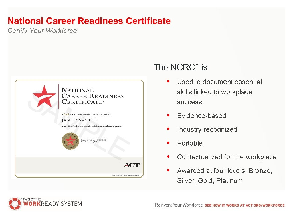 National Career Readiness Certificate Certify Your Workforce The NCRC is ™ • Used to