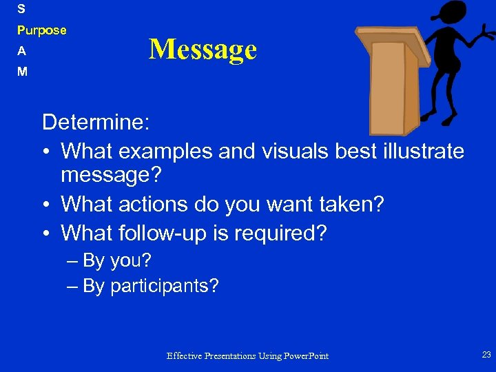 S Purpose A M Message Determine: • What examples and visuals best illustrate message?