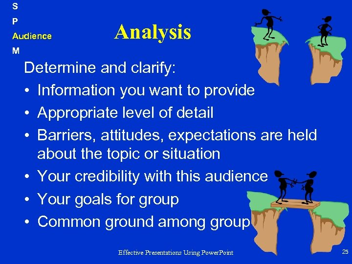 S P Audience Analysis M Determine and clarify: • Information you want to provide