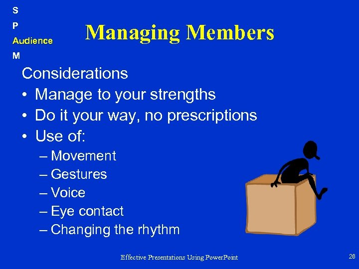 S P Audience Managing Members M Considerations • Manage to your strengths • Do