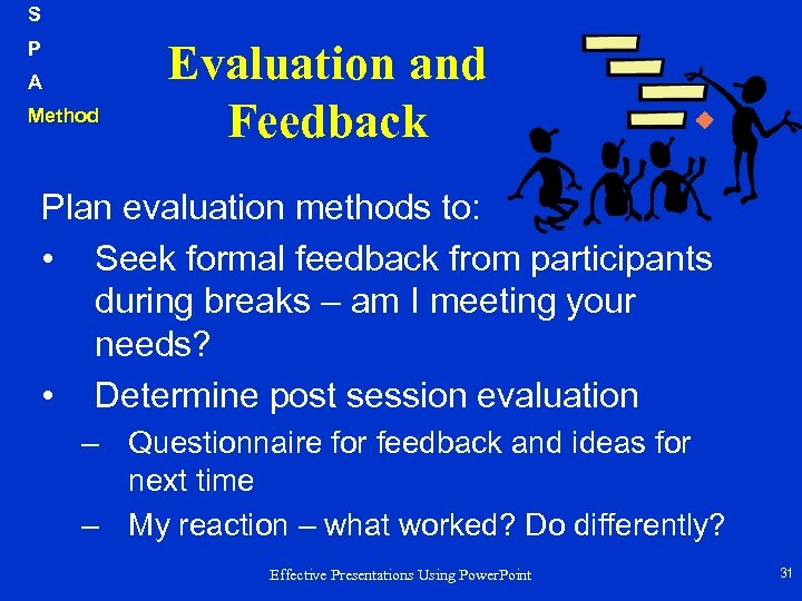 S P A Method Evaluation and Feedback Plan evaluation methods to: • Seek formal