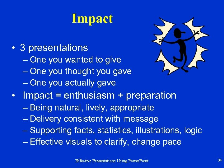 Impact • 3 presentations – One you wanted to give – One you thought