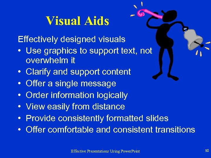 Visual Aids Effectively designed visuals • Use graphics to support text, not overwhelm it
