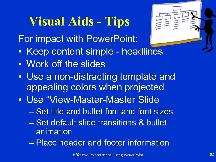 Visual Aids - Tips For impact with Power. Point: • Keep content simple -