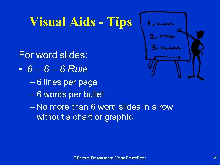 Visual Aids - Tips For word slides: • 6 – 6 Rule – 6
