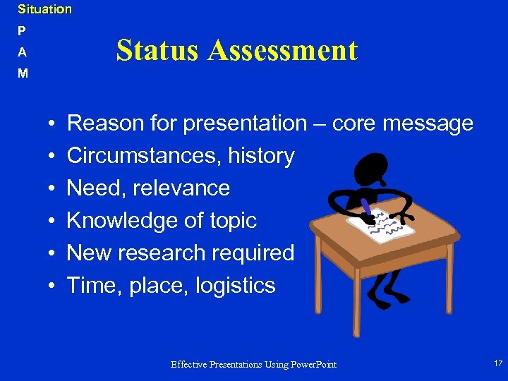 Situation P Status Assessment A M • • • Reason for presentation – core