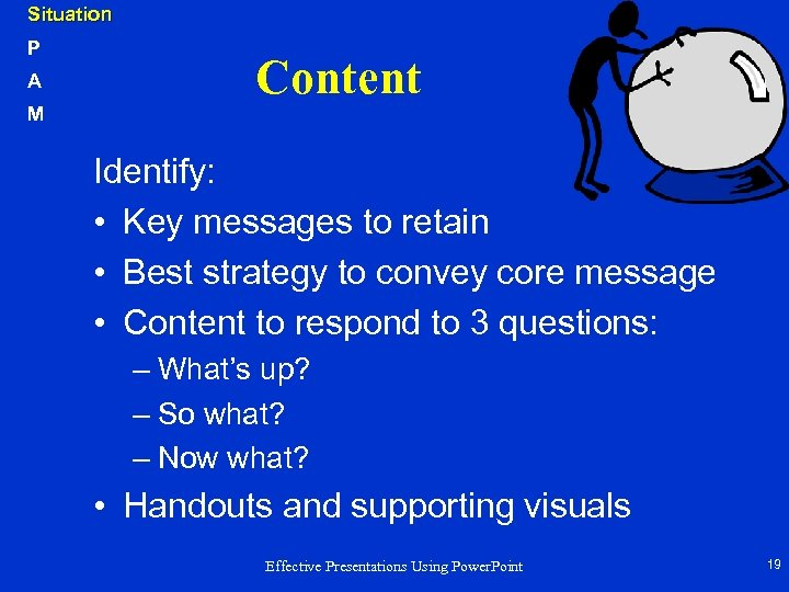 Situation P A M Content Identify: • Key messages to retain • Best strategy