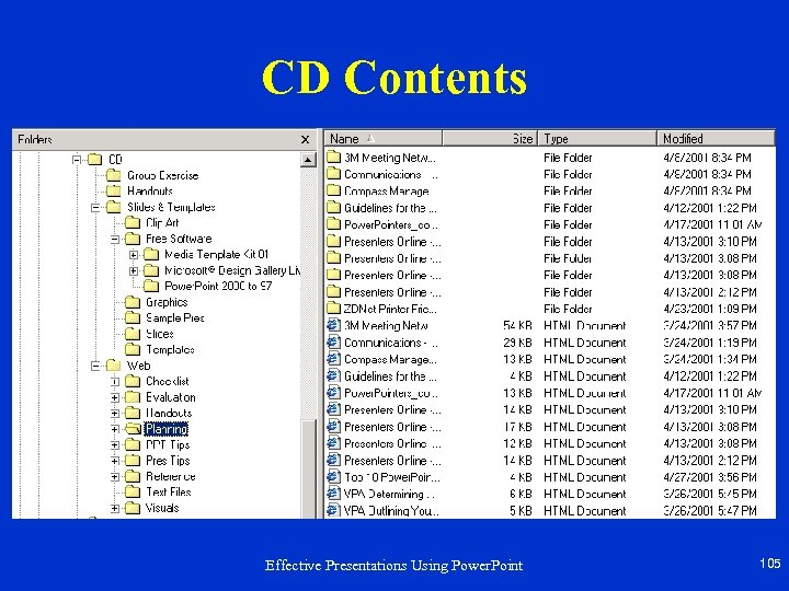 CD Contents Effective Presentations Using Power. Point 105