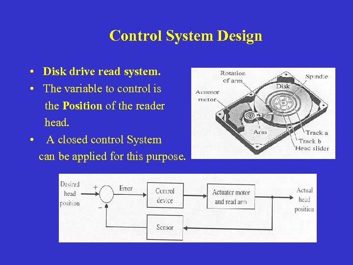 Control System Design • Disk drive read system. • The variable to control is
