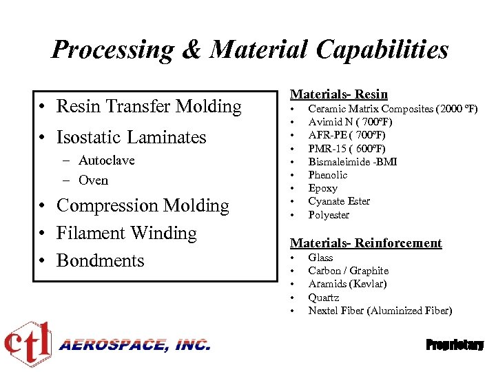 Processing & Material Capabilities • Resin Transfer Molding • Isostatic Laminates – Autoclave –