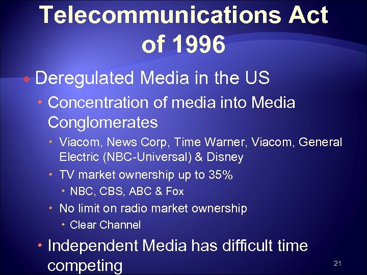 an introduction to the telecommunications act of 1996 The broadcasting industry experienced drastic deregulation with the passage of the telecommunications act of 1996 this study examines the capital market reactions to the passage of the act and aftermath changes in profitability and efficiency in the broadcasting industry.