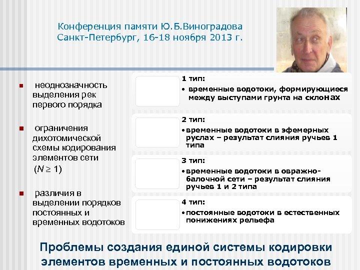 Конференция памяти Ю. Б. Виноградова Санкт-Петербург, 16 -18 ноября 2013 г. n n n