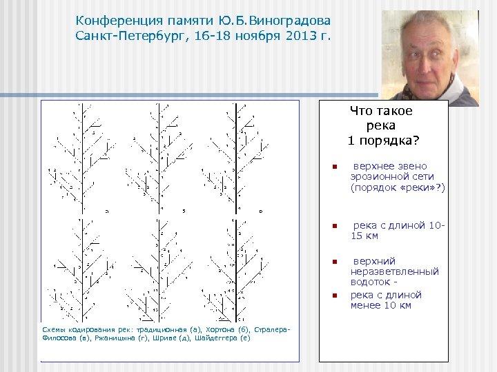 Конференция памяти Ю. Б. Виноградова Санкт-Петербург, 16 -18 ноября 2013 г. Что такое река