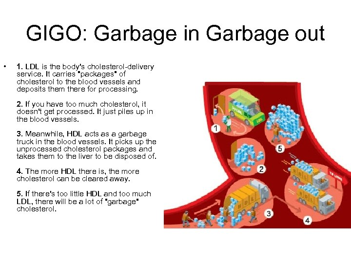 GIGO: Garbage in Garbage out • 1. LDL is the body's cholesterol-delivery service. It