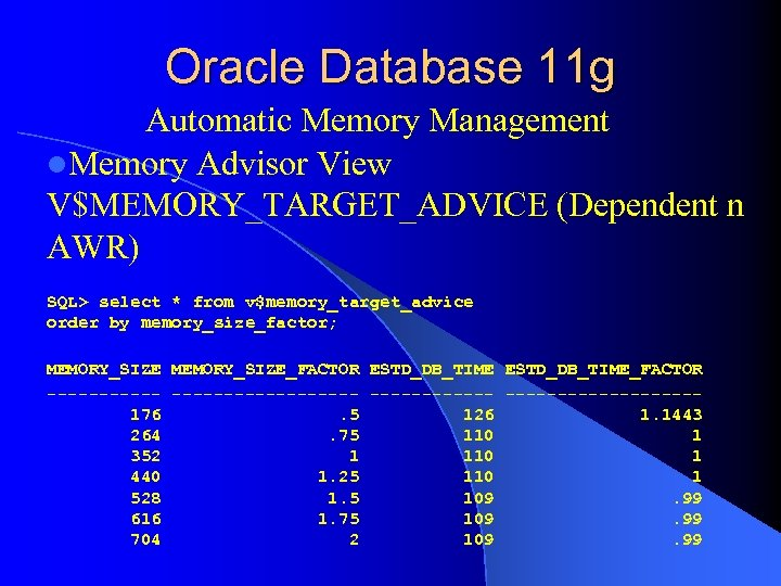 Oracle Database 11 g Automatic Memory Management l. Memory Advisor View V$MEMORY_TARGET_ADVICE (Dependent n