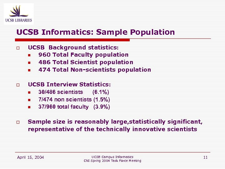 UCSB Informatics: Sample Population o o o UCSB Background statistics: n 960 Total Faculty