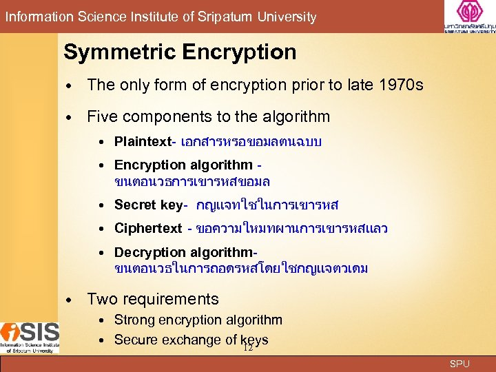 Information Science Institute of Sripatum University Symmetric Encryption The only form of encryption prior