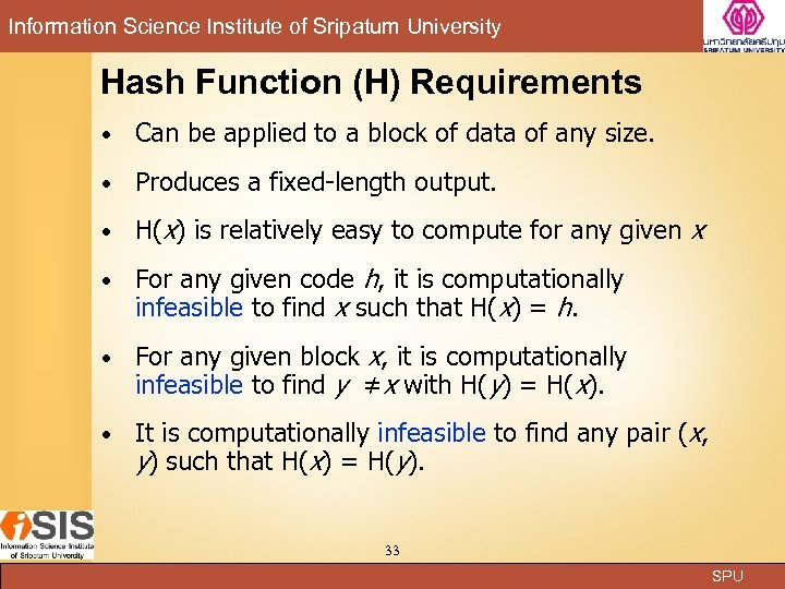 Information Science Institute of Sripatum University Hash Function (H) Requirements Can be applied to