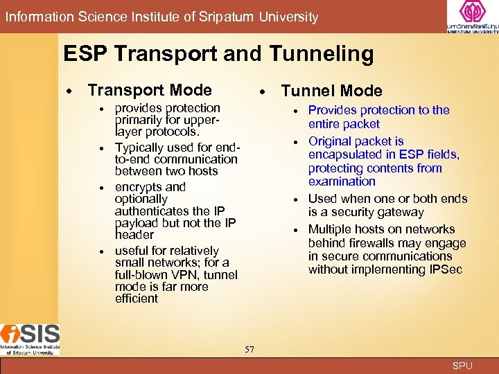 Information Science Institute of Sripatum University ESP Transport and Tunneling Transport Mode provides protection