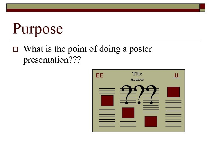 Purpose o What is the point of doing a poster presentation? ? ? EE